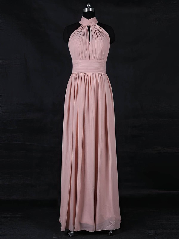 Chiffon A-line High Neck Floor-length with Ruffles Bridesmaid Dresses #DOB01013116
