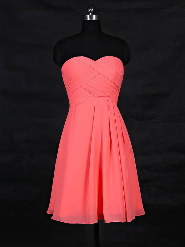 Chiffon A-line Sweetheart Short/Mini with Ruffles Bridesmaid Dresses #DOB01013117