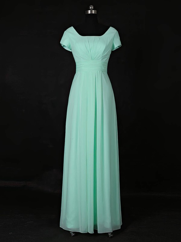 Chiffon A-line Scoop Neck Floor-length with Ruffles Bridesmaid Dresses #DOB01013118