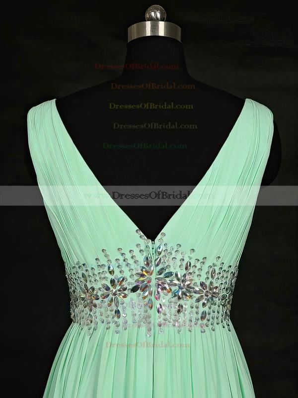 Chiffon A-line V-neck Floor-length with Beading Bridesmaid Dresses #DOB01013119