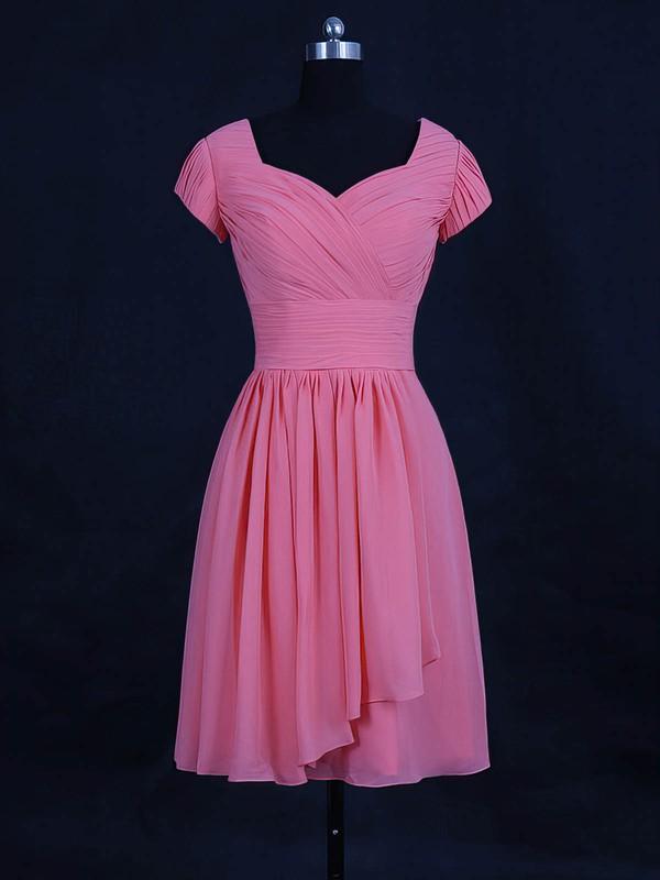 Chiffon A-line V-neck Short/Mini with Ruffles Bridesmaid Dresses #DOB01013120