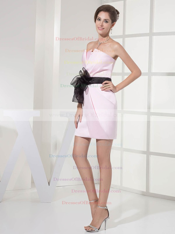 Strapless Sheath/Column Short/Mini Satin Sashes/Ribbons Bridesmaid Dresses #DOB01011696