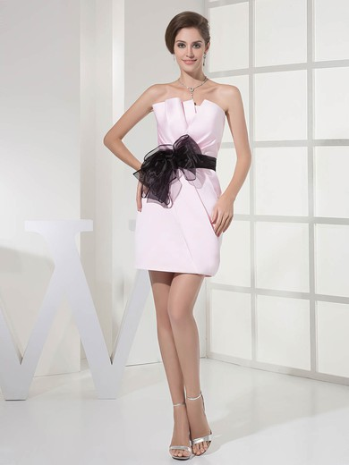 Strapless Sheath/Column Short/Mini Satin Sashes/Ribbons Bridesmaid Dresses #DOB01011696