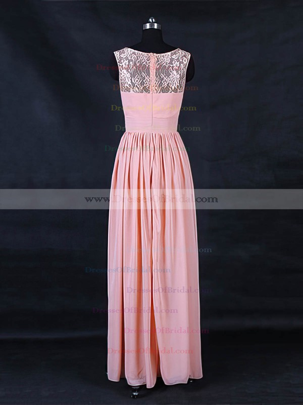 Lace Chiffon A-line Scoop Neck Floor-length with Ruffles Bridesmaid Dresses #DOB01013123