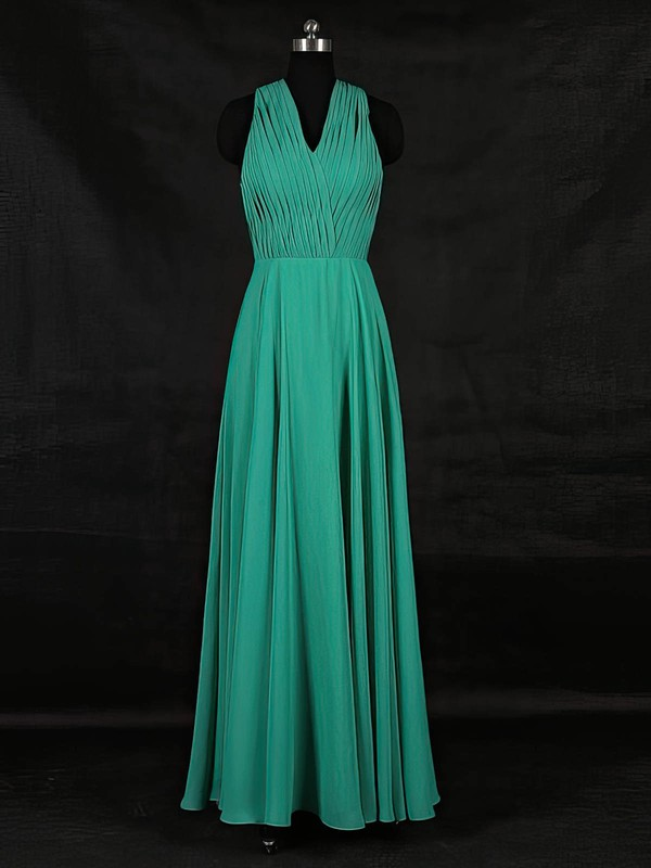 Chiffon A-line V-neck Floor-length with Ruffles Bridesmaid Dresses #DOB01013124