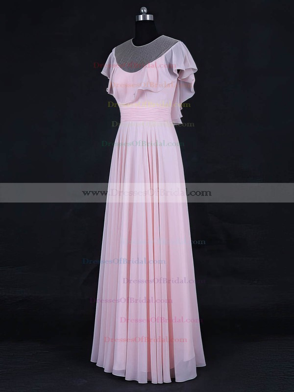 Tulle Chiffon A-line Scoop Neck Floor-length with Ruffles Bridesmaid Dresses #DOB01013125