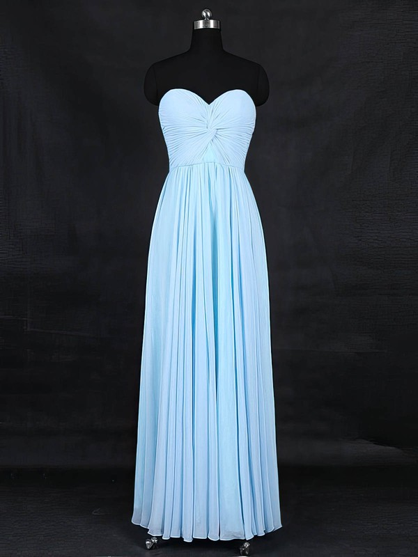 Chiffon A-line Sweetheart Floor-length with Criss Cross Bridesmaid Dresses #DOB01013126