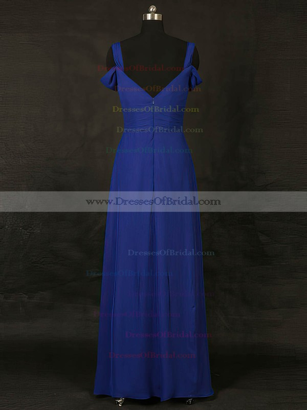 Chiffon A-line V-neck Floor-length with Ruffles Bridesmaid Dresses #DOB01013127