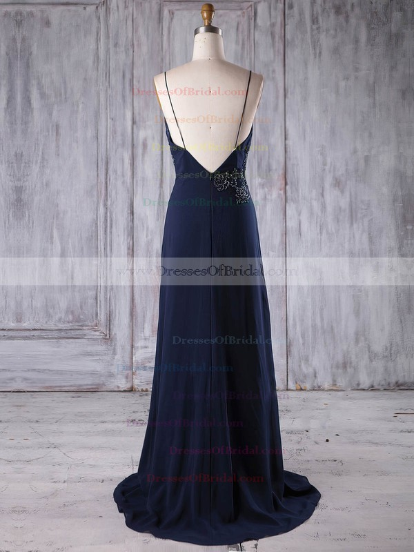 Chiffon A-line V-neck Sweep Train with Appliques Lace Bridesmaid Dresses #DOB01013173