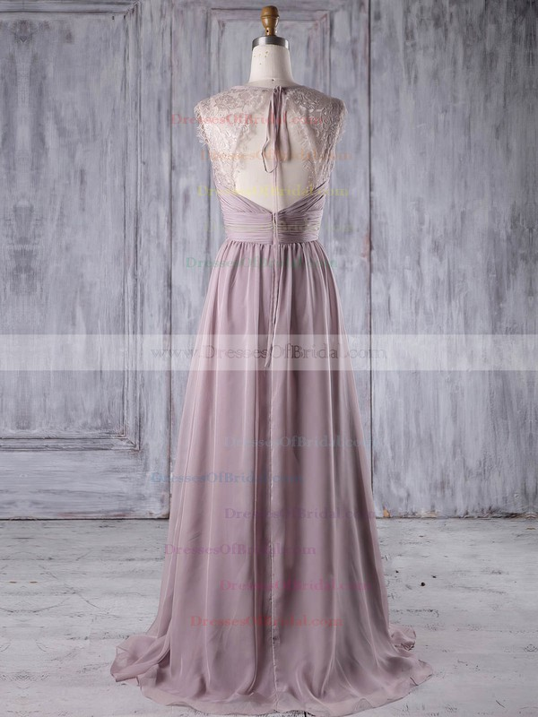 Lace Chiffon A-line V-neck Sweep Train with Ruffles Bridesmaid Dresses #DOB01013174
