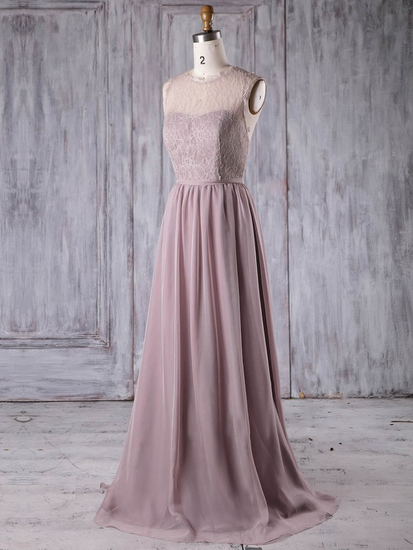 Lace Chiffon A-line Scoop Neck Sweep Train with Sashes / Ribbons Bridesmaid Dresses #DOB01013175
