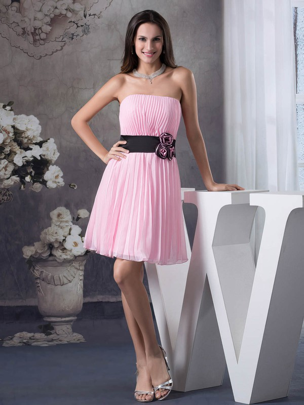 Strapless A-line Short/Mini Chiffon Pleats Bridesmaid Dresses #DOB01011697