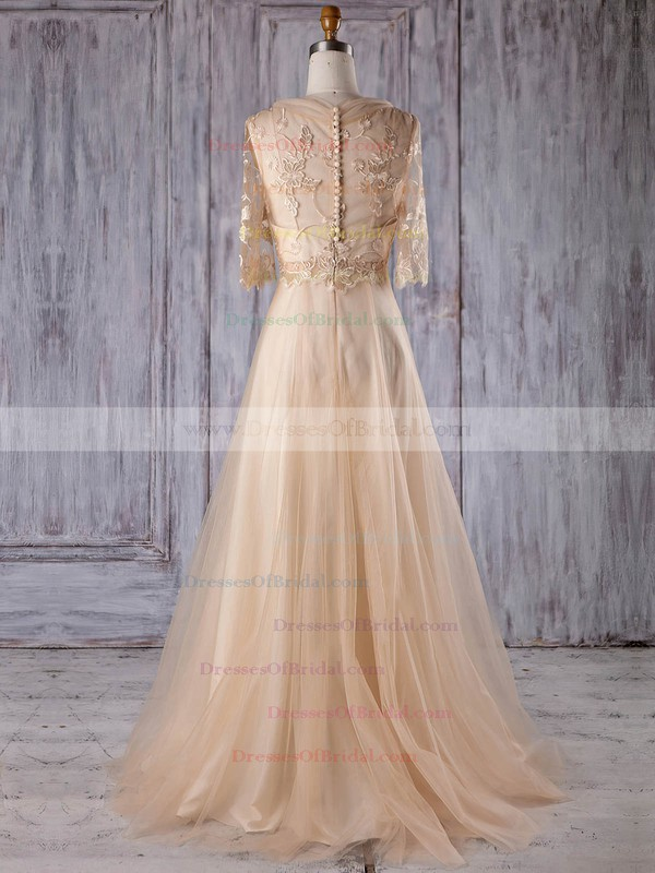 Tulle A-line V-neck Sweep Train with Appliques Lace Bridesmaid Dresses #DOB01013178