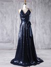 Sequined A-line Halter Sweep Train with Sashes / Ribbons Bridesmaid Dresses #DOB01013179