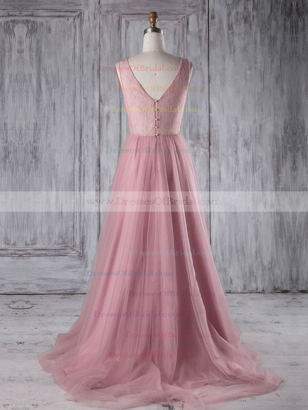 Tulle A-line Scoop Neck Sweep Train with Lace Bridesmaid Dresses #DOB01013180
