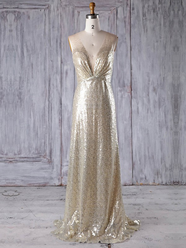 Tulle Sequined A-line V-neck Sweep Train with Sequins Bridesmaid Dresses #DOB01013183