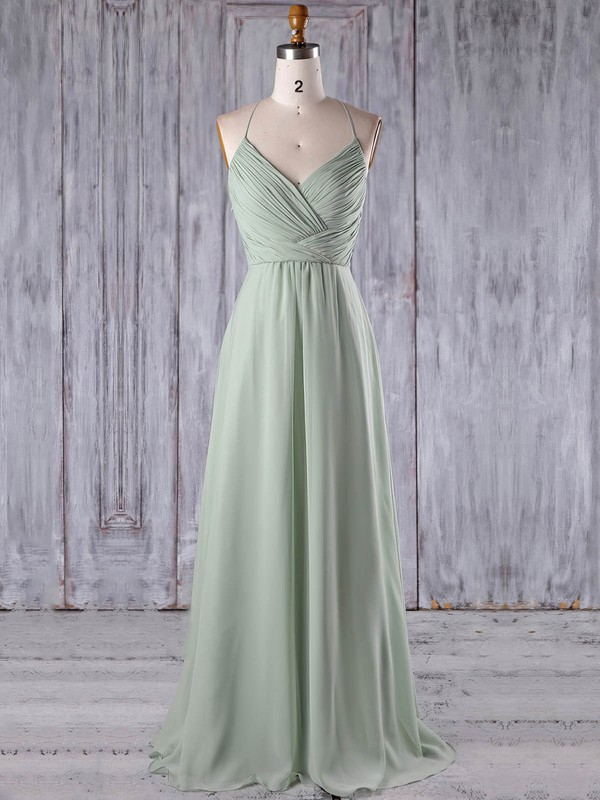 Chiffon Tulle A-line V-neck Floor-length with Appliques Lace Bridesmaid Dresses #DOB01013184