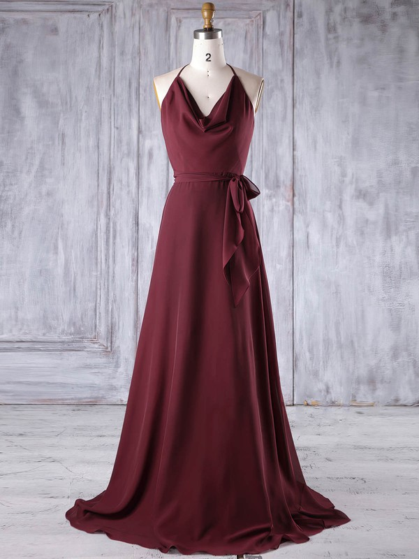 Chiffon A-line Halter Sweep Train with Sashes / Ribbons Bridesmaid Dresses #DOB01013185
