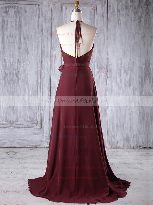 Chiffon A-line Halter Sweep Train with Sashes / Ribbons Bridesmaid Dresses #DOB01013185