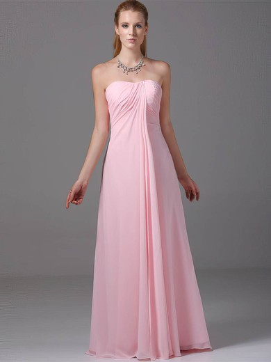 Strapless Empire Floor-length Chiffon Ruched Bridesmaid Dresses #DOB02012881