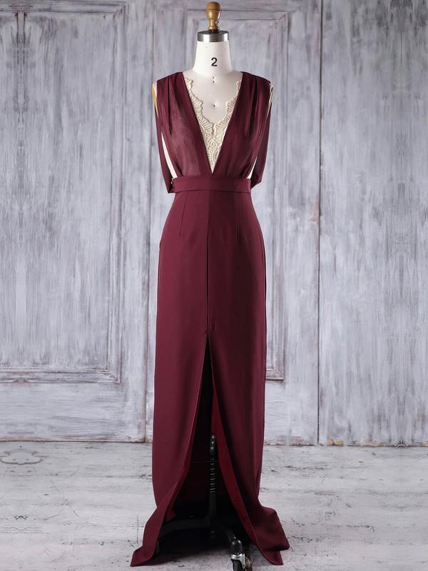 Lace Chiffon Sheath/Column V-neck Floor-length with Split Front Bridesmaid Dresses #DOB01013186