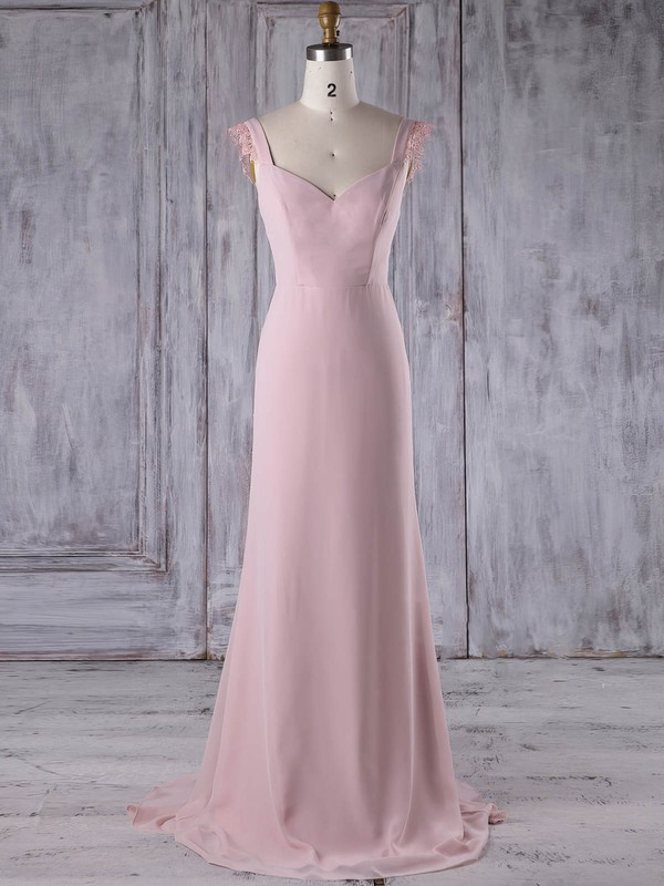 Chiffon Sheath/Column V-neck Sweep Train with Lace Bridesmaid Dresses #DOB01013187