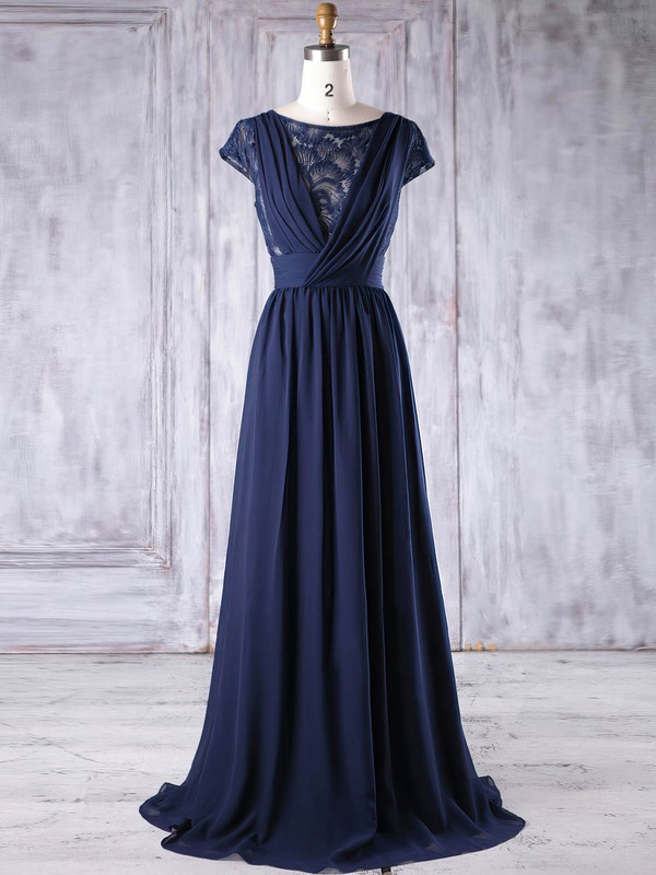 Lace Chiffon A-line Scoop Neck Floor-length with Ruffles Bridesmaid Dresses #DOB01013188