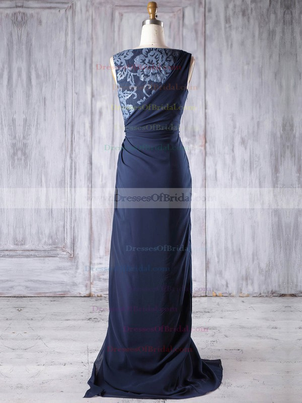 Chiffon Sheath/Column Scoop Neck Sweep Train with Split Front Bridesmaid Dresses #DOB01013189