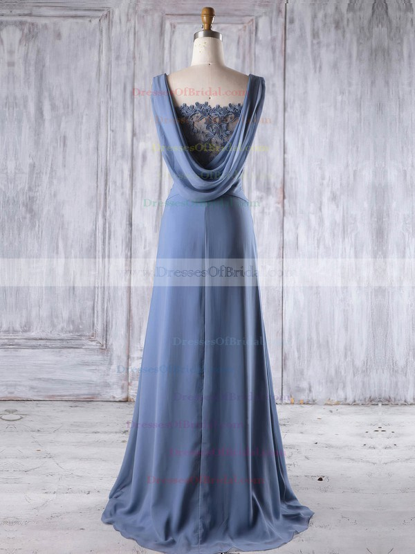 Lace Chiffon A-line Square Neckline Sweep Train with Beading Bridesmaid Dresses #DOB01013191