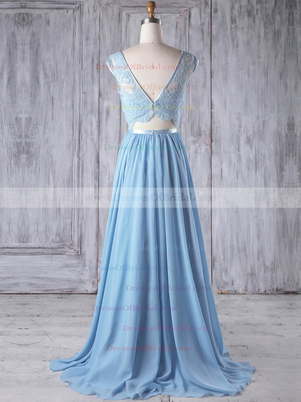 Chiffon Tulle A-line Scoop Neck Sweep Train with Sashes / Ribbons Bridesmaid Dresses #DOB01013192