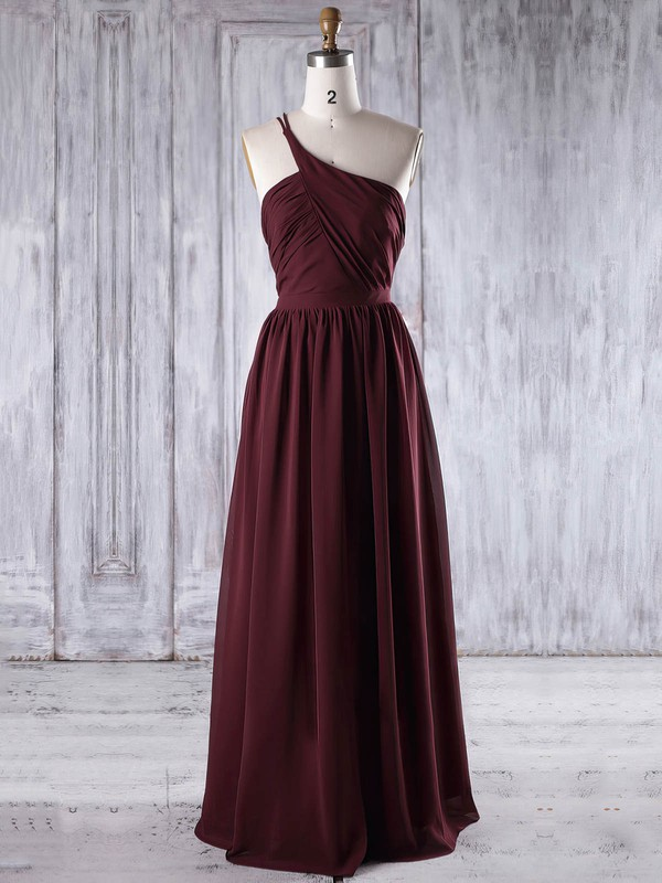 Chiffon A-line One Shoulder Floor-length with Ruffles Bridesmaid Dresses #DOB01013195