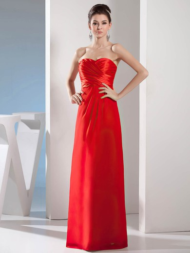 Sweetheart Sheath/Column Floor-length Chiffon Ruched Bridesmaid Dresses #DOB02012976