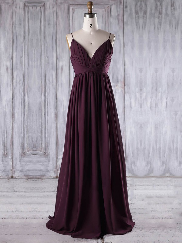 Chiffon Empire V-neck Floor-length with Ruffles Bridesmaid Dresses #DOB01013196