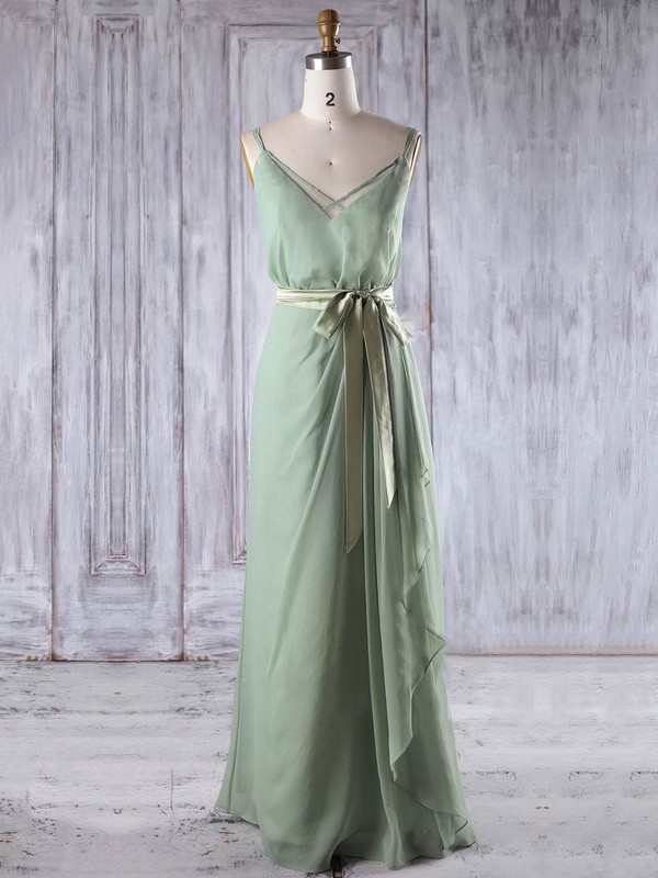 Chiffon A-line V-neck Floor-length with Sashes / Ribbons Bridesmaid Dresses #DOB01013197