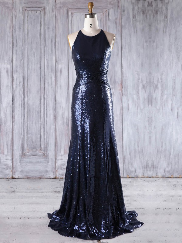 Sequined Sheath/Column Scoop Neck Sweep Train with Ruffles Bridesmaid Dresses #DOB01013201