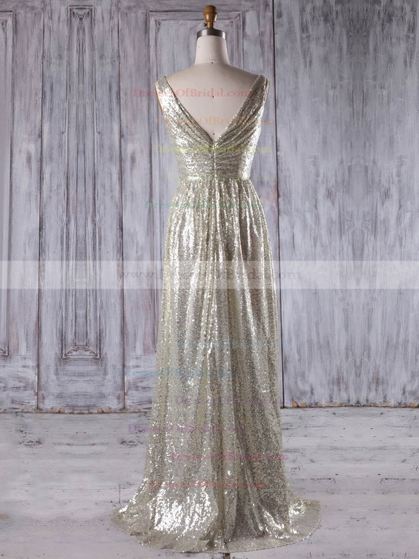 Sequined A-line V-neck Sweep Train with Split Front Bridesmaid Dresses #DOB01013202