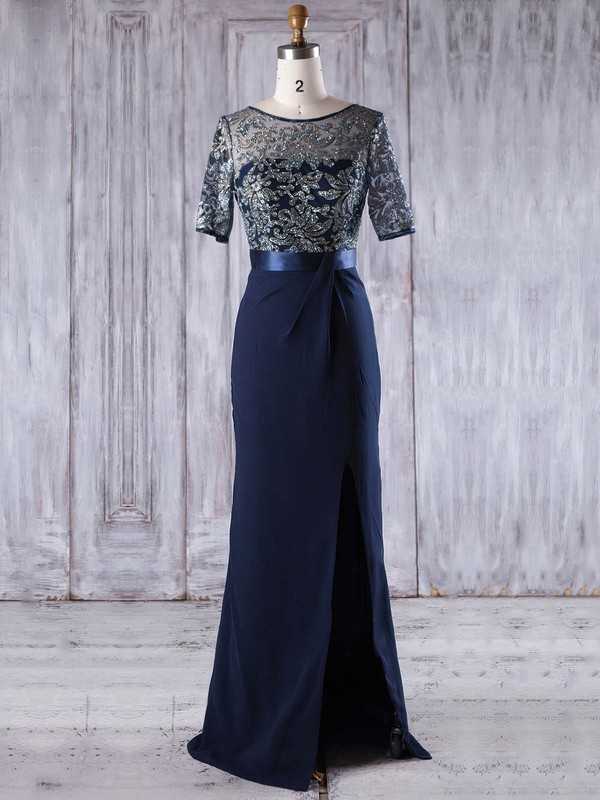 Chiffon Tulle Sheath/Column Scoop Neck Floor-length with Split Front Bridesmaid Dresses #DOB01013203