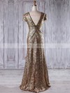 Sequined Sheath/Column V-neck Floor-length with Ruffles Bridesmaid Dresses #DOB01013204