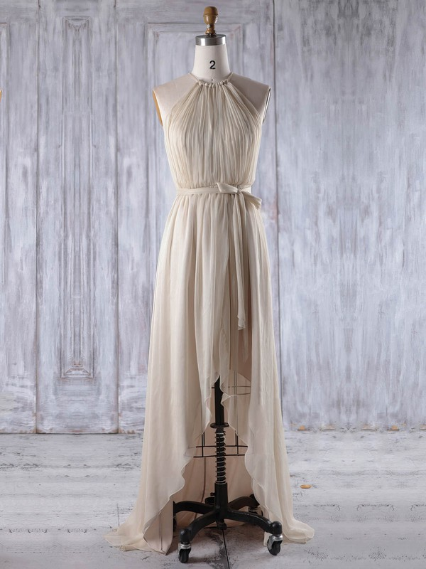 Chiffon A-line Scoop Neck Asymmetrical with Sashes / Ribbons Bridesmaid Dresses #DOB01013205