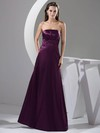 Strapless A-line Floor-length Elastic Woven Satin Ruched Bridesmaid Dresses #DOB02013052