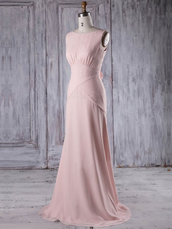 Chiffon Sheath/Column Scoop Neck Sweep Train with Ruffles Bridesmaid Dresses #DOB01013206