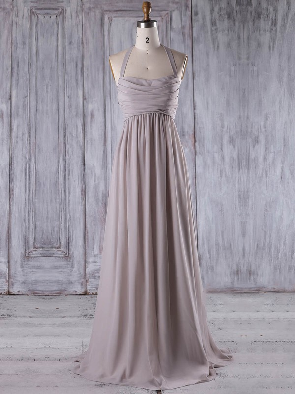 Chiffon Empire Halter Floor-length with Ruffles Bridesmaid Dresses #DOB01013207