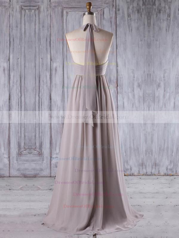Chiffon Empire Halter Floor-length with Ruffles Bridesmaid Dresses #DOB01013207