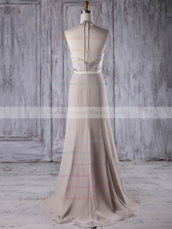 Lace Chiffon A-line Halter Sweep Train with Sashes / Ribbons Bridesmaid Dresses #DOB01013208