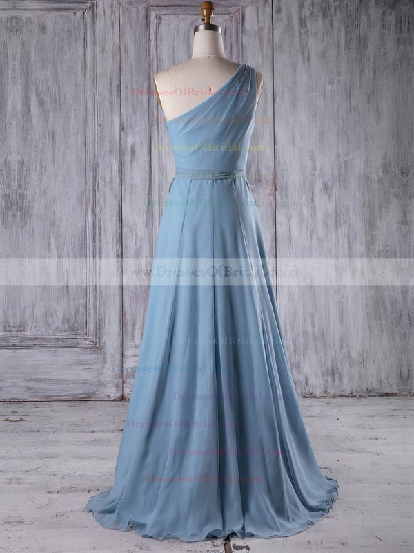 Chiffon A-line One Shoulder Floor-length with Sashes / Ribbons Bridesmaid Dresses #DOB01013209