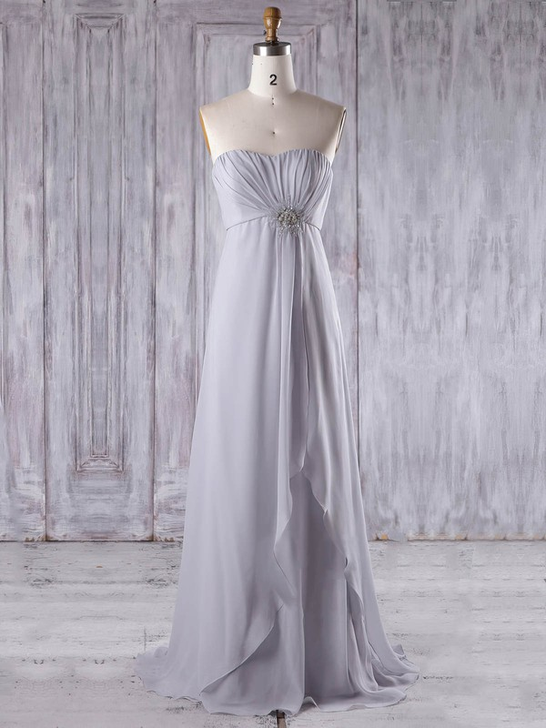 Chiffon Empire Sweetheart Sweep Train with Beading Bridesmaid Dresses #DOB01013210