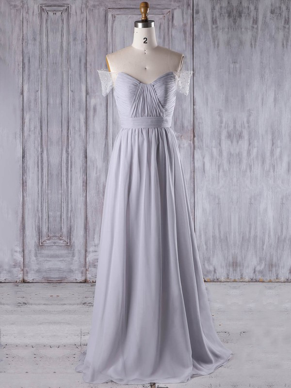 Chiffon Tulle A-line Off-the-shoulder Sweep Train with Beading Bridesmaid Dresses #DOB01013211
