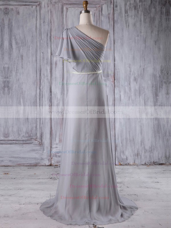 Chiffon A-line One Shoulder Sweep Train with Sashes / Ribbons Bridesmaid Dresses #DOB01013212