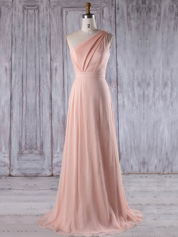Chiffon A-line One Shoulder Sweep Train with Ruffles Bridesmaid Dresses #DOB01013215