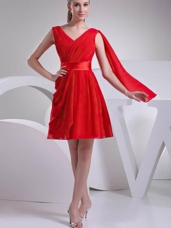 V-neck A-line Short/Mini Chiffon Ruffles Bridesmaid Dresses #DOB02041451